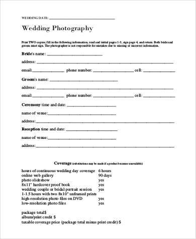wedding photography model release form