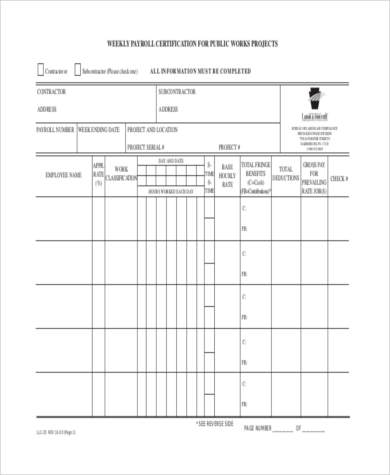 weekly certified payroll form