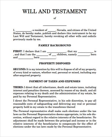 Sample will form 7 free documents in pdf for Easy last will and testament free template