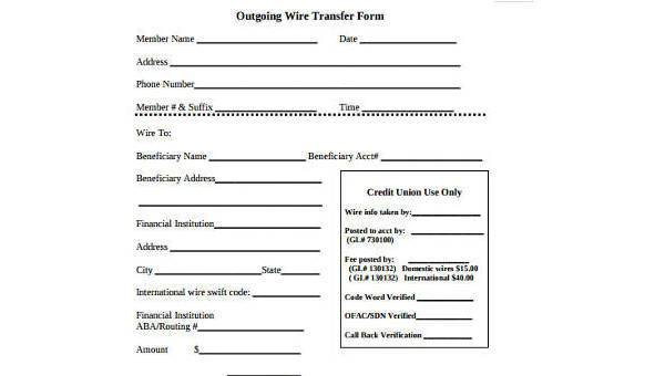 Sample Wire Transfer Forms In Pdf