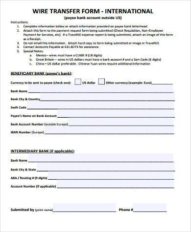 Free 7 Wire Transfer Form Samples In Pdf Word