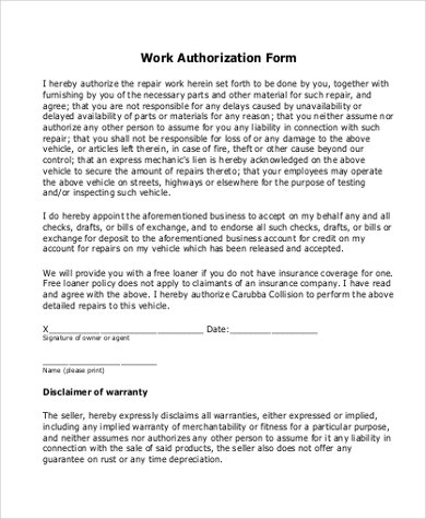 work authorization form in pdf - Employment Authorization Form Example