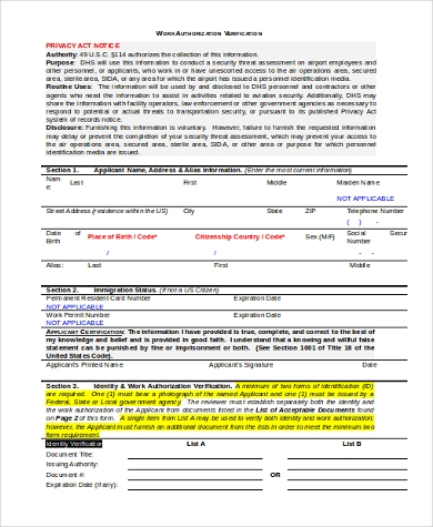work authorization verification form