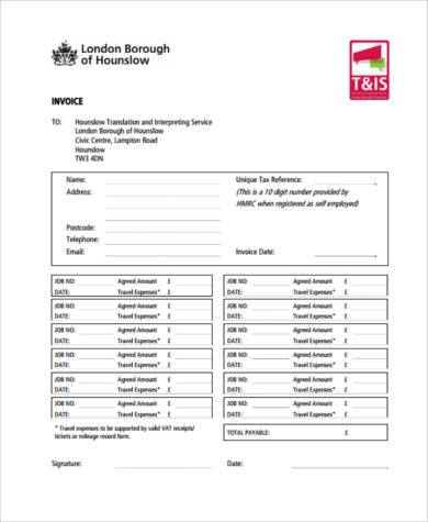 work invoice form example