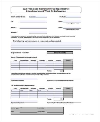 sample work invoice forms 7 free documents in word pdf