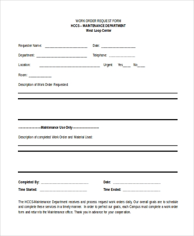 Sample Work Order Form - 10+ Free Documents In Word, Pdf