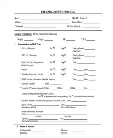 Sample Work Physical Forms   Free Documents In Word Pdf