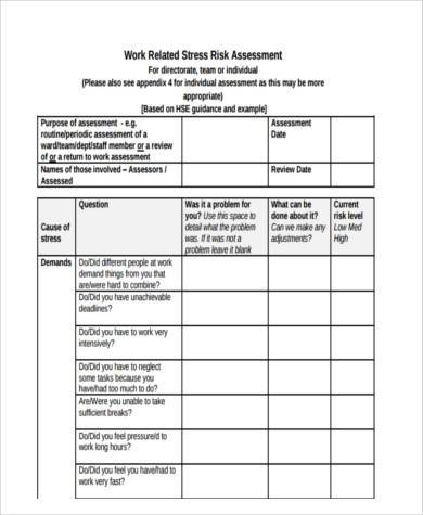 Sample Stress Risk Assessment Forms   Free Documents In Word Pdf