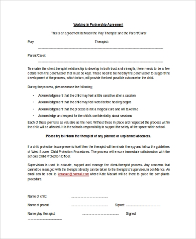 Working Partnership Agreement Form Sample