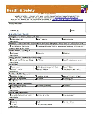 workplace health and safety risk assessment form1