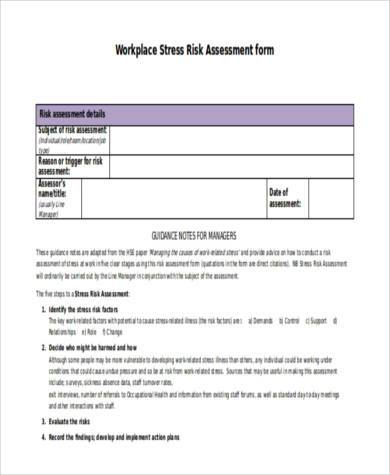 workplace stress risk assessment form