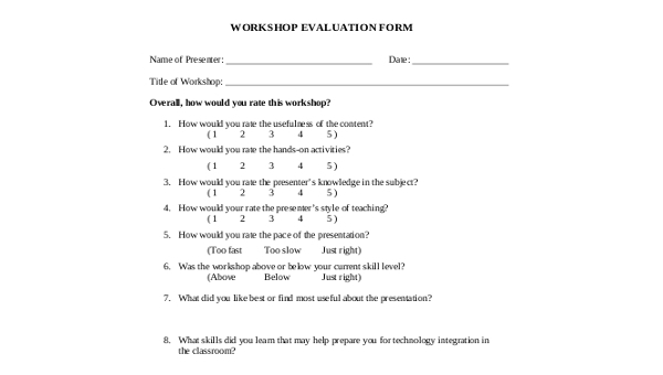 Evaluation form workshop FREE 17+