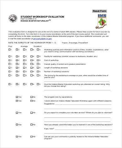 workshop evaluation form for students