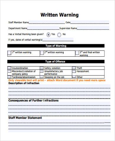 Written Verbal Warning Form