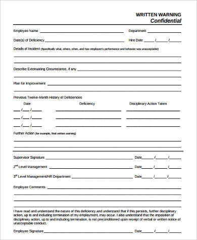 written warning confidential form