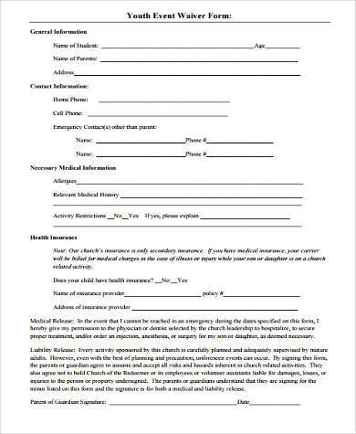 youth event waiver form