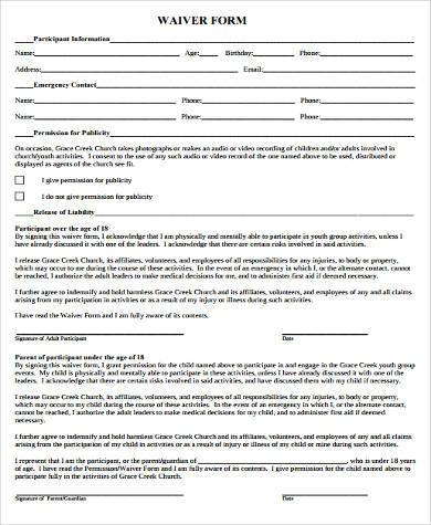Youth sports waiver form why you must experience youth for Participation waiver template