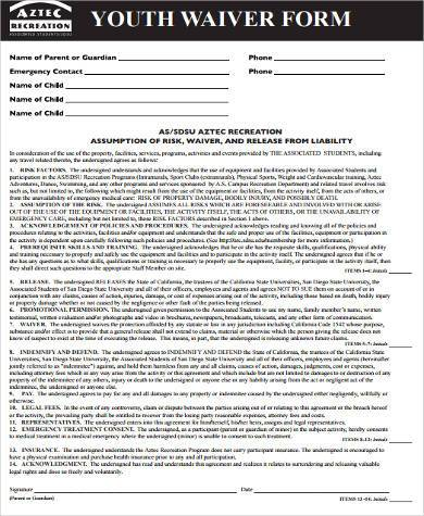 youth waiver form example