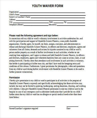 youth waiver form in pdf