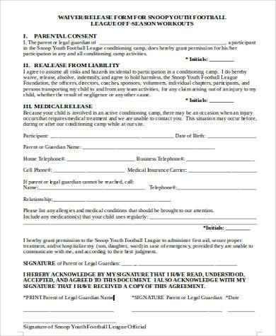Sample Youth Waiver Forms   Free Documents In Word Pdf