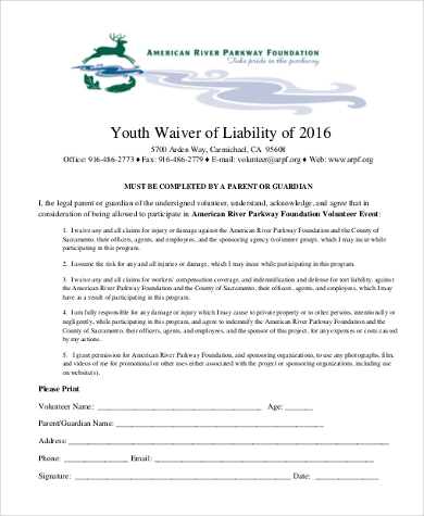 youth waiver of liability