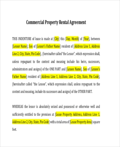commercial rental agreement letter