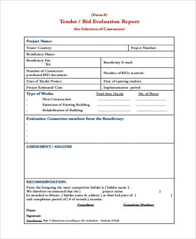 contractor bid evaluation form