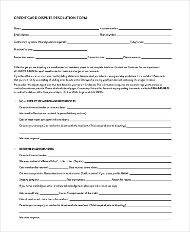 credit dispute resolution form