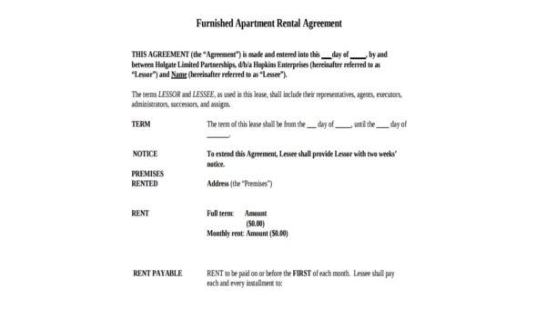 Free 8 Apartment Rental Agreements In Pdf Word