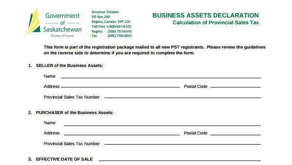 sample business declaration forms 7 free documents in word pdf