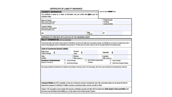 sample certificate of liability insurance forms 6 free documents