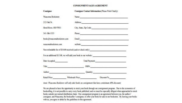 Free 8 Consignment Agreement Form Samples Pdf
