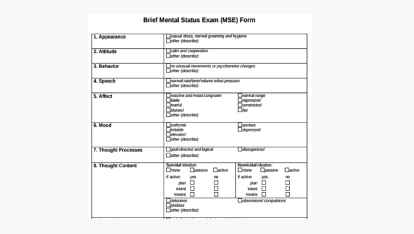 FREE 7+ Mental Status Exam Forms in PDF | WORD
