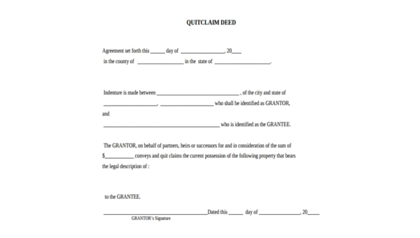 Quick Deed Form | Sample Quit Deed Form 7 Free Documents In Pdf