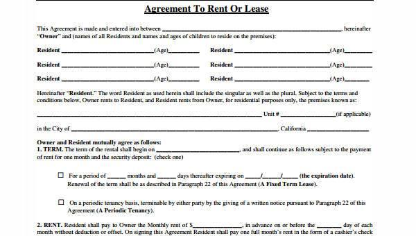 Free 8 Generic Rental Agreement Form Samples In Pdf Word