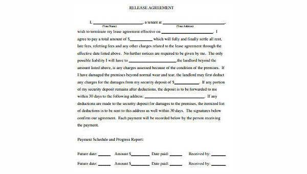 Sample Release Agreement Forms 8 Free Documents In Word Pdf