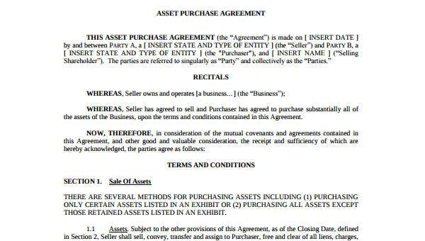 Sample Asset Agreement Forms 7 Free Documents In Word Pdf