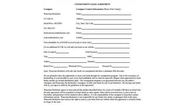 Free 7 Sample Consignment Contract Forms Pdf