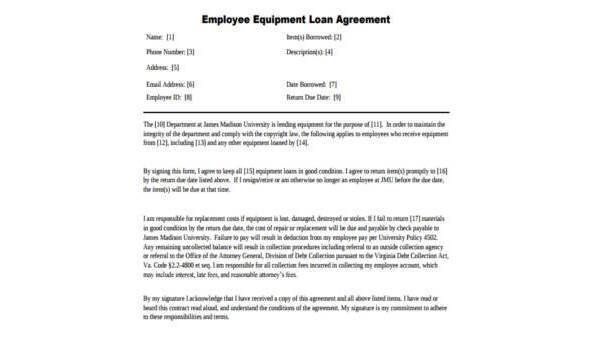 Free 9 Sample Employee Loan Agreements In Pdf Word