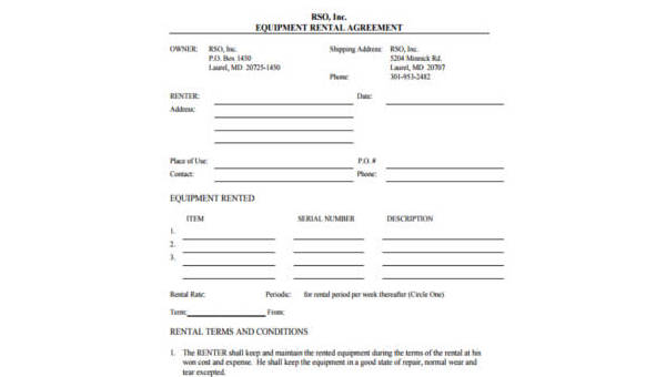 Free 9 Sample Rental Contract Forms In Pdf Word