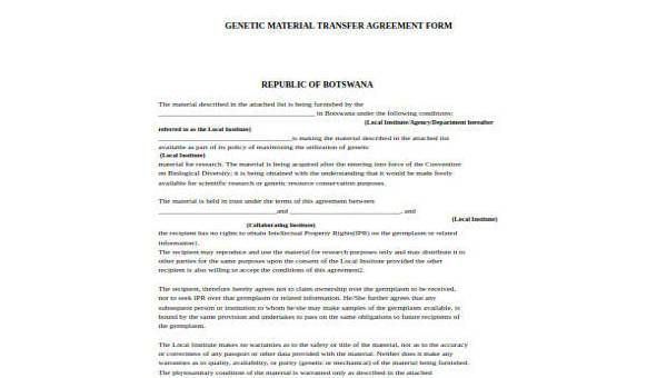 Free 8 Sample Transfer Agreement Forms Pdf