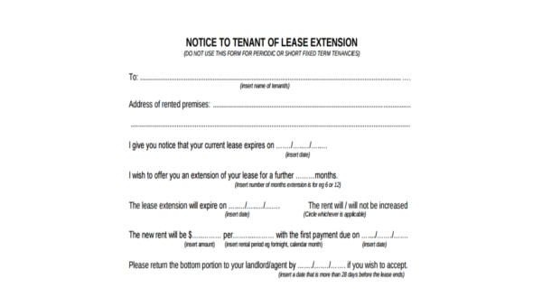 Free 9 Sample Lease Extension Agreement Forms In Pdf Word