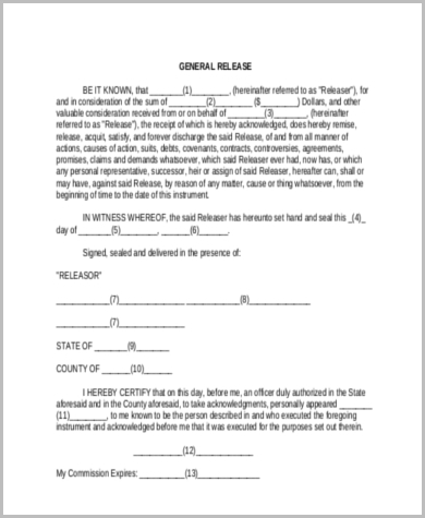 General Legal Release Form