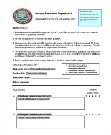 hr department evaluation form