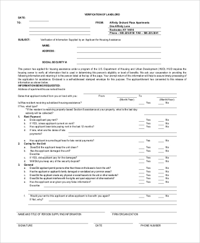 landlord reference verification form