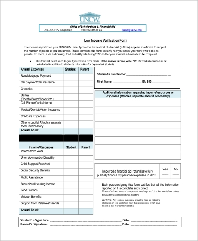 low income verification form