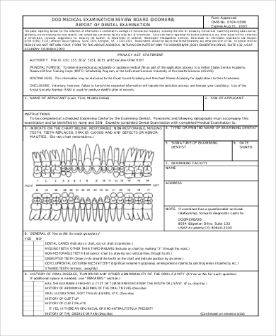 military dental examination form