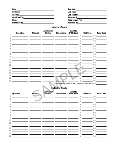 Sample Contractor Estimate Form   Free Documents In Word Pdf