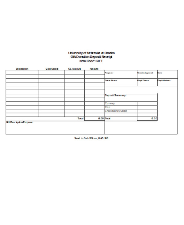 simple gift donation receipt form