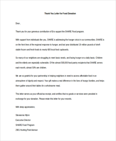 Thank You Letters For Donations - 7+ Free Documents In Word, Pdf